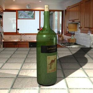chardonnay wine bottle 3d max