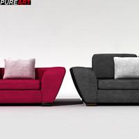 3d model of upholstered divan seater armchair