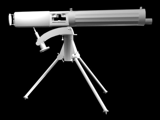 3d model vickers machine gun