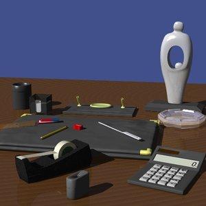 desktop accessories office 3d model