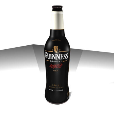 3d guinness stout bottle model