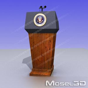 president podium 3d model