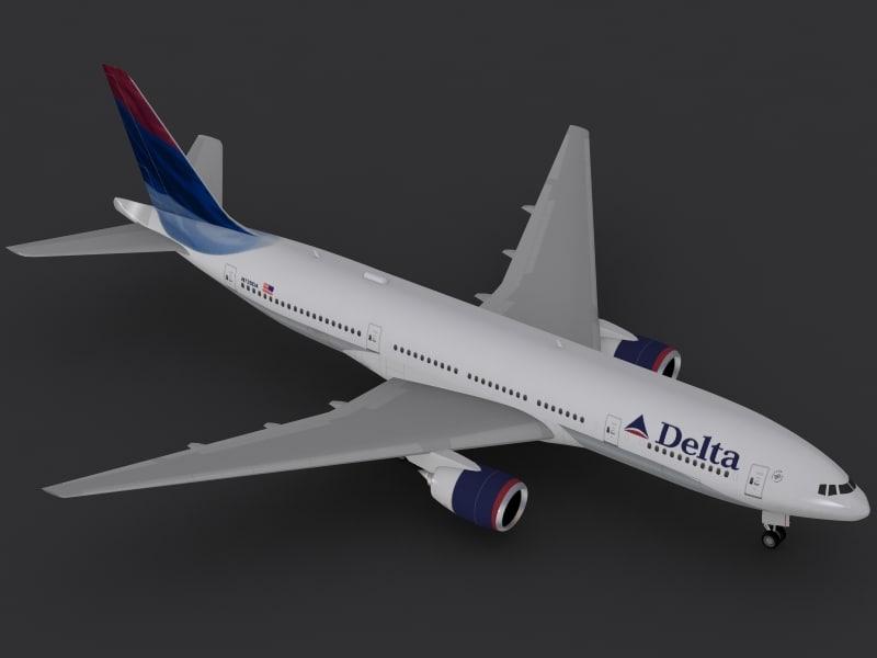 b 777-200 delta 3d 3ds