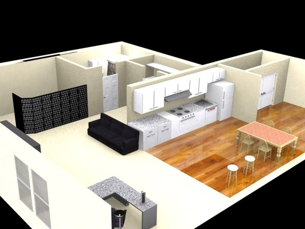 studio apartment 3d model