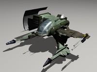 3d model alienrider space fighter alien