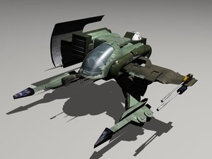 3d model alienrider space fighter alien