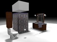 bathroom sink shower mirror 3d max
