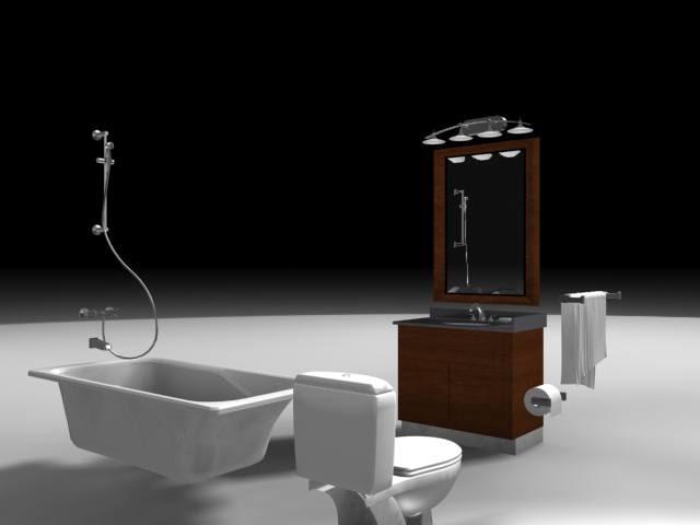bathroom toilet tub shower 3d model