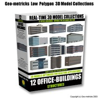 12 office buildings 3d model