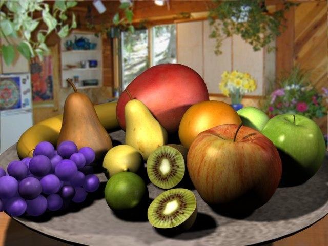 fruit banana kiwi 3d model