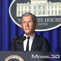 george w bush character 3d model