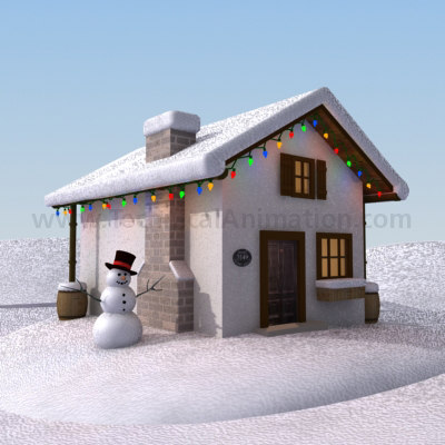 winter christmas cottage 3d max