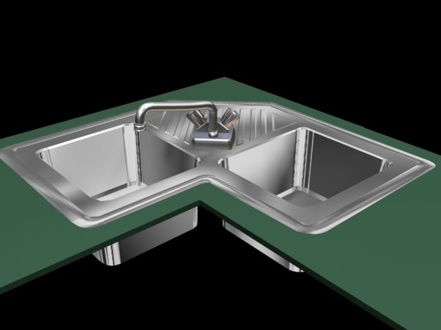 Genial Corner Kitchen Sink 3d Model