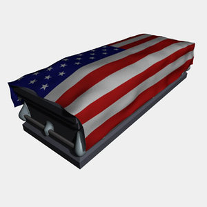 casket american flag 3d model