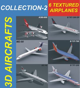 3d 6 airplanes model