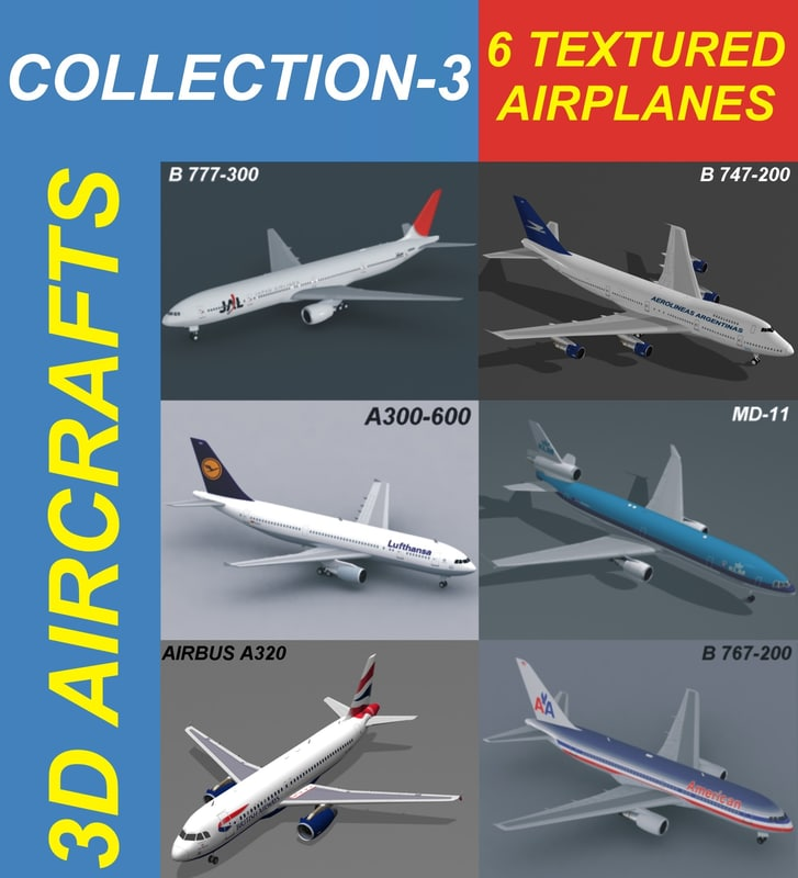 3d model of 6 a320 airplanes