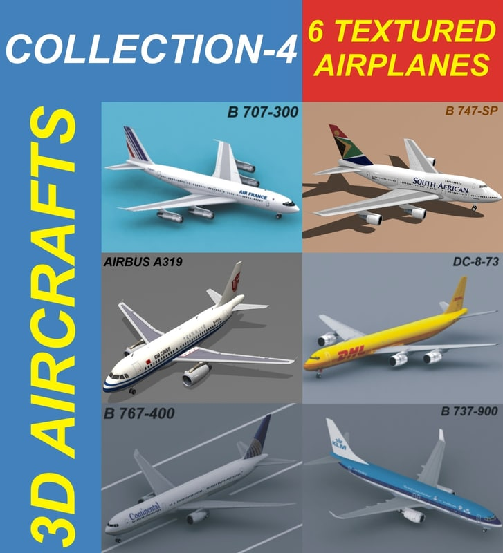 6 aircrafts air a319 3d model