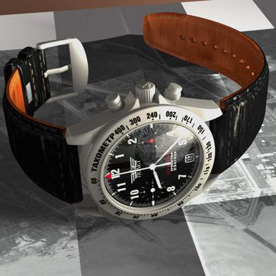 3d model poljot watch