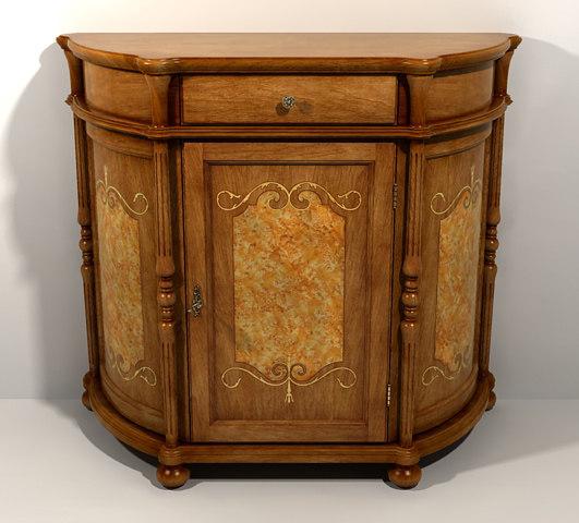 classical oak comode 3d model