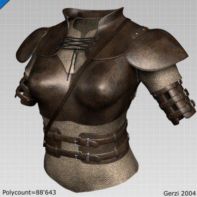 medieval fantasy female leather 3d model
