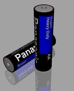 3d model of aa batteries