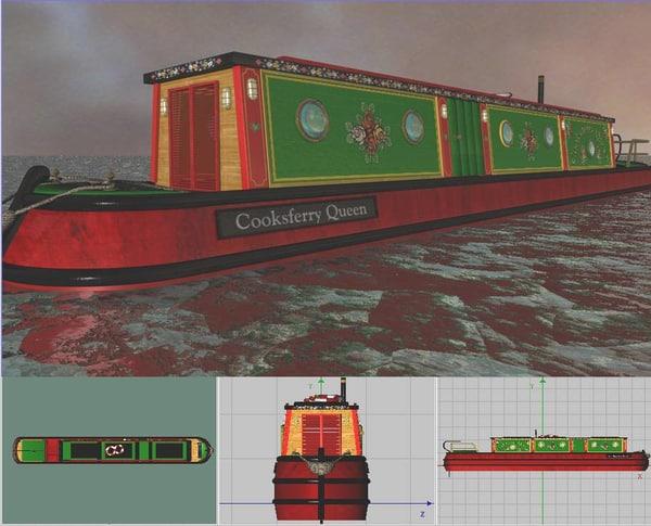 3d model narrowboat boat
