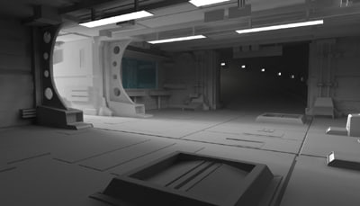 sci-fi garage 3d max