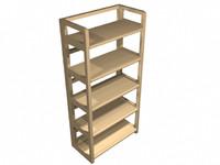 pine bookshelf 3d model