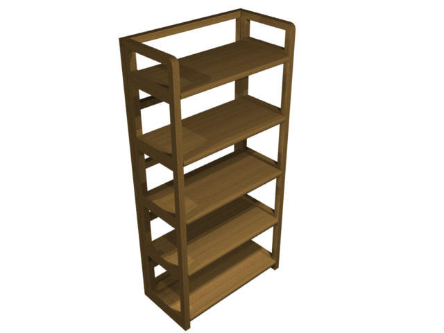 3d model bookshelf oak shelf