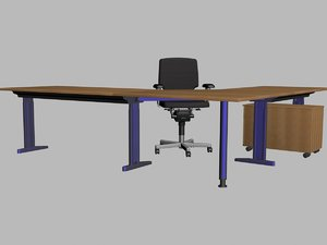 chair table office 3d model