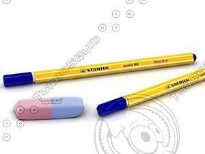 3d model stabilo pens