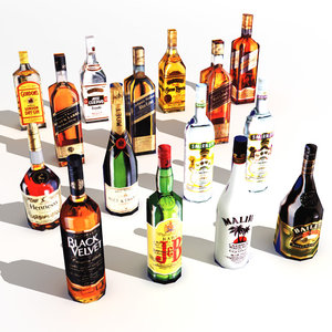 15 bottles alcohols 3d model