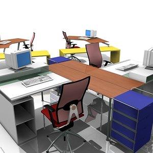 office workstations 3d model
