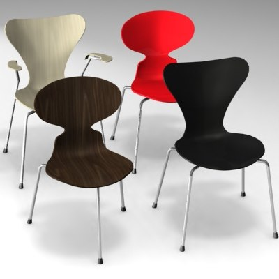 chair arne jacobsen ant 3d model