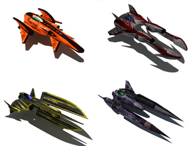 complete racing ship 3d model