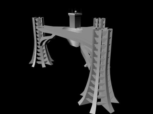 skycity futuristic building 3d model