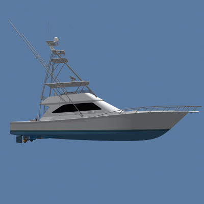 sportfishing yacht boat 3d model