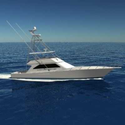 3d sportfishing boat