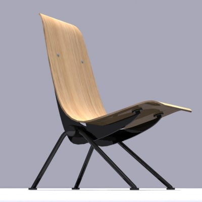 jean prouvé chair 3d model