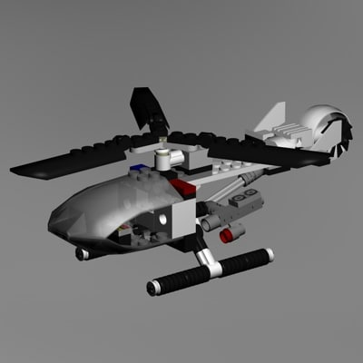 cinema4d lego police helicopter