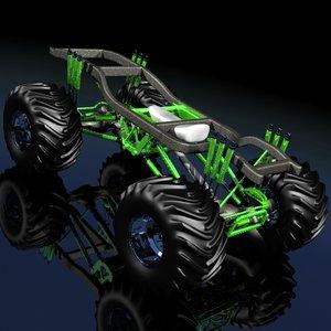 3d model monster truck frame