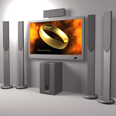 3d model home theatre plasma tv