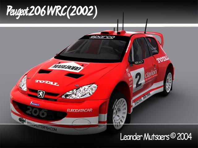 car 2002 wrc peugeot 3d model