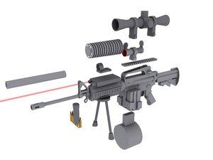 3d gun rifle assault