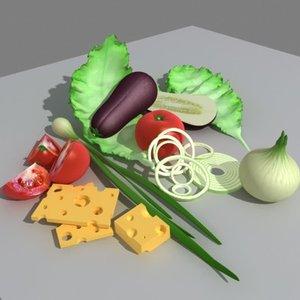 vegetables tomato lettuce 3d model