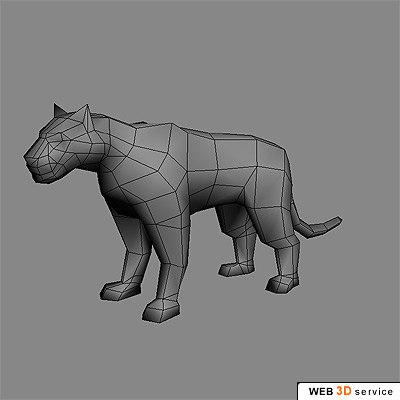 polygonal tiger 3d model