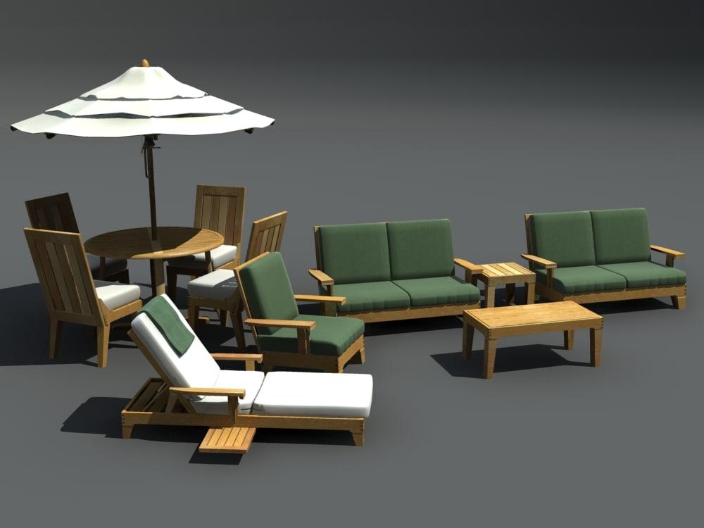 3ds max patio furniture set