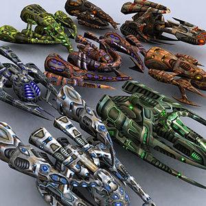 3d model sci-fi alien motherships