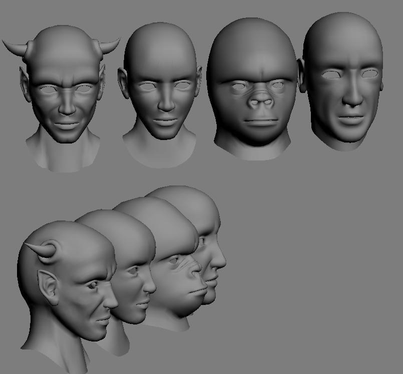 3d model of heads