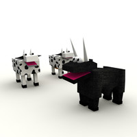 3d bull cows